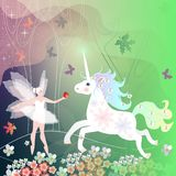 Summer magic forest with trees, flowers and butterflies, where live fairy creatures - winged elf and unicorn.  Stock Photography