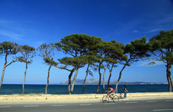 Summer in Majorca. Person riding bicycle along roadway beside bay with brilliant blue summer sky and trees along water, island or mainland in background, Majorca Stock Photography