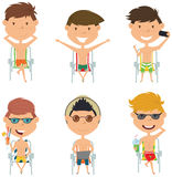 Summer male characters sitting on beach chairs vector illustration Stock Photos