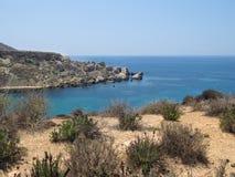 Summer in Malta long the coastline Stock Photos