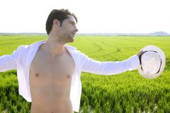 Summer man open shirt outdoor meadow Royalty Free Stock Photography