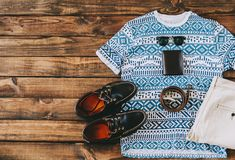 Summer Man Outfit. On wooden rustic floor Royalty Free Stock Photography