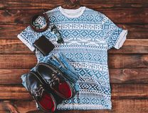 Summer Man Outfit. On wooden rustic floor Royalty Free Stock Photos