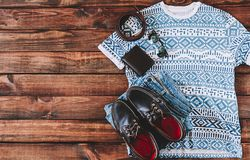 Summer Man Outfit. On wooden rustic floor Stock Photography