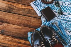 Summer Man Outfit. On wooden rustic floor Stock Photo