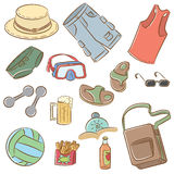Summer man's vacation icons set Royalty Free Stock Photography