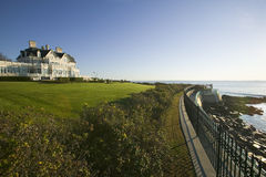 Summer mansion on the Cliff Walk, Cliffside Mansions of Newport Rhode Island Royalty Free Stock Image