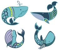 Summer marina set  with  whales Stock Photography