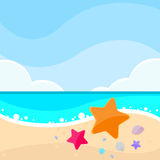 Summer Marine Beach Sand Sea Star Starfish Card Royalty Free Stock Photo