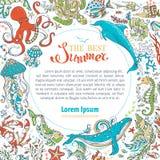 Summer marine life circle frame. Royalty Free Stock Photography