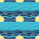 Summer Marine Seamless Pattern Royalty Free Stock Images