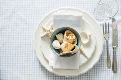 Summer marine style table setting. Copy space Royalty Free Stock Photos