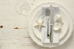 Summer marine style table setting. Copy space Royalty Free Stock Photography