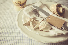 Summer marine style table setting. Copy space Stock Image