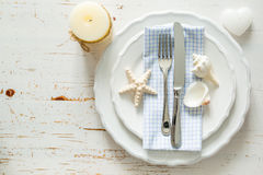Summer marine style table setting. Copy space Stock Photography