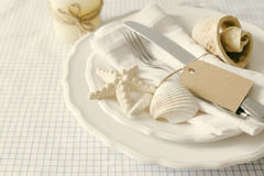 Summer marine style table setting. Copy space Royalty Free Stock Photo