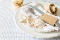 Summer marine style table setting Royalty Free Stock Photos