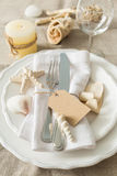 Summer marine style table setting. Copy space Royalty Free Stock Images