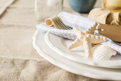 Summer marine style table setting Royalty Free Stock Photos