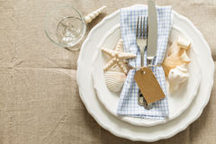Summer marine style table setting. Copy space Royalty Free Stock Image