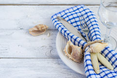 Summer marine style table setting, copy space.  Stock Photography