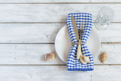 Summer marine style table setting, top view, space for text Royalty Free Stock Images