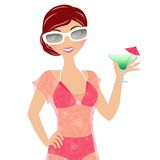 Summer martini woman Royalty Free Stock Photo