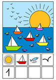 Summer math counting game. Summer with boats on the sea, fishes, birds and sun. Count the number of each one and write it on the squares below Royalty Free Stock Image