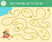Free Summer Maze For Children. Preschool Beach Holidays Activity. Funny Puzzle With Cute Girl, Seashells, Foot Prints On Sand. Holiday Royalty Free Stock Image - 181477666
