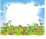 Summer meadow. Summer green meadow cloud frame Royalty Free Stock Image