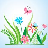 Summer meadow. From flowers, green leaves, butterfly and a bumblebee on a light background Royalty Free Stock Images