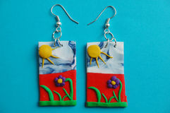 Summer meadow earrings Stock Photography