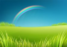 Summer meadow field with rainbow after rain. Nature background with green grass. Landscape, trees, dark sky. Farmland scene. Vector illustration Royalty Free Stock Images