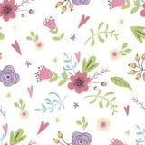 Summer meadow floral seamless pattern hand drawn spring pastel garden background Cute flowers. Summer forest floral seamless pattern hand drawn spring gentle vector illustration