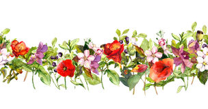 Summer meadow flowers and butterflies. Repeating frame. Watercolor stock illustration