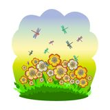 Summer meadow, flowers and dragonflies royalty free illustration