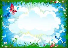 Summer meadow frame Vector Illustration