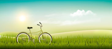 Summer meadow landscape with a bicycle. Royalty Free Stock Images