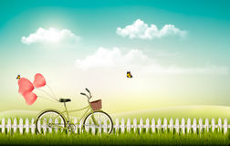Summer meadow landscape with a bicycle. Stock Photography