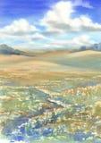 Summer meadow landscape watercolor Royalty Free Stock Photos
