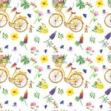 Summer meadow seamless pattern. Wildflowers and retro bicycle on white background. Watercolor yellow retro bicycle with basket and wildflowers seamless pattern stock illustration