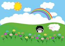 Summer meadow with sheeps and flowers. Summer meadow with white and black sheep. In the sky sun, clouds and rainbow. On the meadow are growing flowers Stock Image
