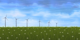 Summer meadow and wind turbines. Summer landscape with several wind turbines on grassy plain Royalty Free Stock Image