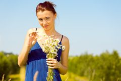 Summer meadow. woman with chamomiles Royalty Free Stock Photography
