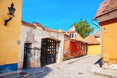 Summer medieval street in old Tallinn Stock Images