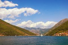 Summer Mediterranean landscape with sailboats on water. Montenegro, Bay of Kotor Stock Photography