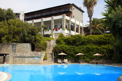 Summer mediterranean resort with swimming pool(Halkidiki,Greece) Stock Photo