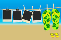 Summer Memories. Vector Collection of Old Retro Blank Photo Frames and Flip Flops Hanging on Rope - Summer Beach in Background royalty free illustration