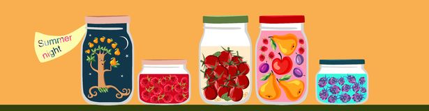 Summer memories in jars with sweet jam, tomatoes and fruit tree inside. Stock Image