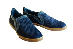 Summer men`s shoes with perforations. Leather blue shoes. Isolat royalty free stock images